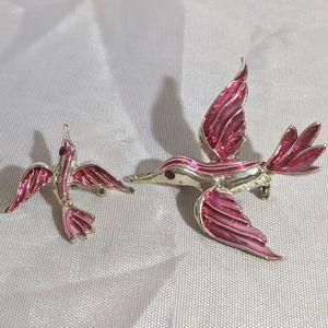 Vintage Gold & Pink Rhinestone Bird Brooch Set